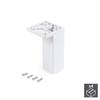 Emuca Pied pour meubles, coin, réglable 100 - 110 mm, Plastique, Blanc, 4 u.
