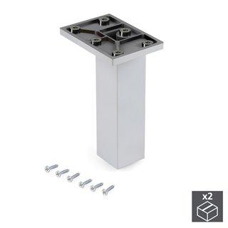 Emuca Pied pour meubles, central, réglable 140 - 150 mm, Plastique, Chromé, 2 u.