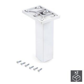 Emuca Pied pour meubles, central, réglable 140 - 150 mm, Plastique, Blanc, 2 u.
