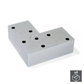 Emuca Pied pour meubles, hauteur 24 mm, Plastique, Gris métalisé, 4 pcs.