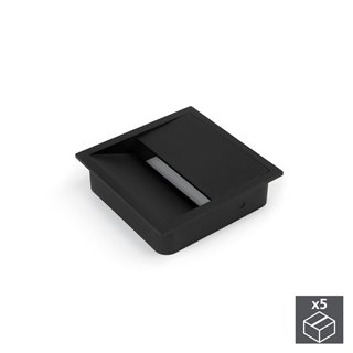 Emuca Passe-câbles table, carré, 85 x 85 mm, pour encastrer, Plastique, Noir, 5 un.