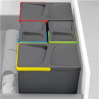 Emuca Poubelles pour tiroir de cuisine, hauteur 216 mm, 1x12L, Gris antracite