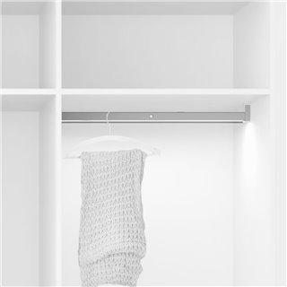 Emuca Barre de penderie pour armoire avec lumière LED, réglable 408-558 mm, 2,6 W-12V DC, détecteur de mouvement, Lumière Blanc