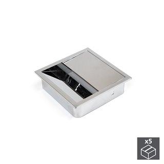 Emuca Passe-câbles table, carré, 85 x 85 mm, pour encastrer, Plastique, Chromé, 5 un.