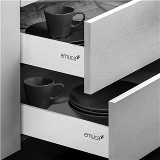 Emuca kit de tiroir Vantage-Q, hauteur 204 mm, prof. 400 mm, avec tringles de rehausse, fermeture amortie,  Acier, Gris métallis