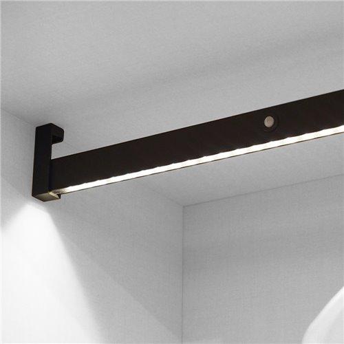 Emuca barre de penderie pour armoire avec lumière LED, réglable 408-558mm, batterie amovible, détecteur de mouvement, Lumière Bl