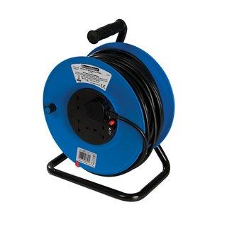 Enrouleur de câble électrique sur pied 230 V - 4 prises - 50 m