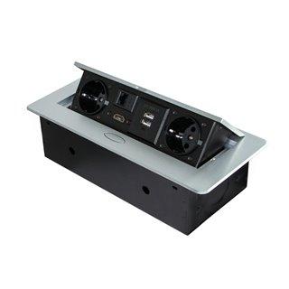 Multi-connecteur UK 265x120mm Atom Emuca pour encastrer au bureau en couleur peinte aluminium