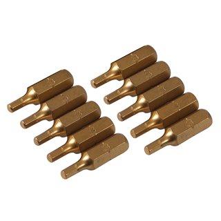 10 embouts dorés 6 pans - Embout hexagonal 3 mm