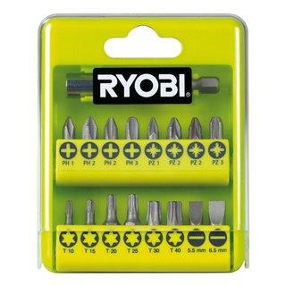 Boite cristal 17 accessoires de vissage PHILIPS - PLAT - POZIDRIV - TORX - Ryobi RAK17SD