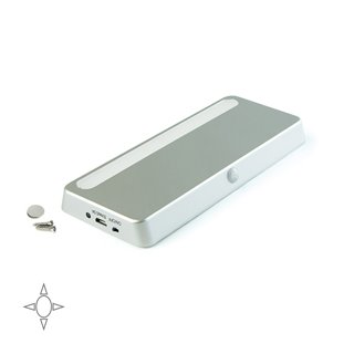 Luminaire LED rechargeable Kraz Emuca avec détecteur de mouvement en couleur paint aluminium