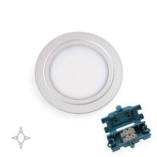 Emuca Applique led pour meuble, diamètre 66 mm, à encastrer, aucun convertisseur nécessaire, lumière blanc natural, acier et pla