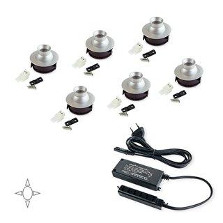 Kit de 6 spots LED orientables Polaris Emuca avec convertisseur de 15W