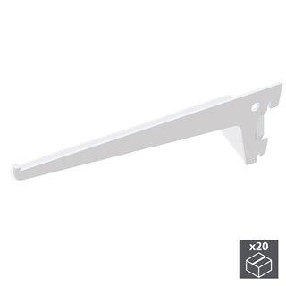 Lot de 20 supports étagère Jagmet Emuca longueur 300 mm pour profil à perforation simple et pas de 50mm