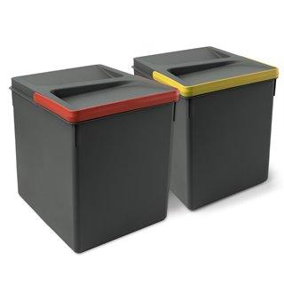 Emuca Poubelles pour tiroir de cuisine, hauteur 266 mm, 2x15L, Gris antracite
