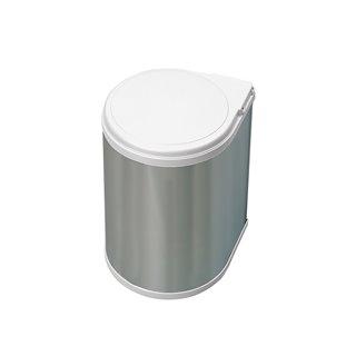 Emuca Poubelle de recyclage, 13L, fixation sur porte, ouverture couvercle automatique, Plastique, finition acier inoxydable