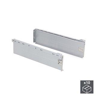 Lot de 10 kits de tiroir Ultrabox Emuca hauteur 150 mm et profondeur 270 mm finition gris métallisé