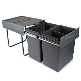 Emuca Poubelles de recyclage pour la cuisine, 2 x 20 L, fixation inférieure, extraction manuel, acier et plastique, gris anthrac