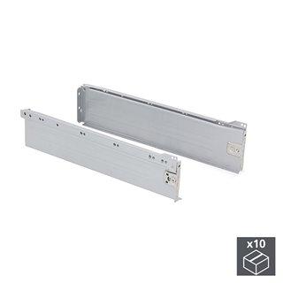 Lot de 10 kits de tiroir Ultrabox Emuca hauteur 118 mm et profondeur 400 mm finition gris métallisé