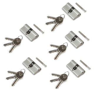 Emuca Cylindre de serrure europeen pour porte, 30 x 30 mm, embrayage simple, longue came, 5 clés, aluminium, nickel satiné, 5 se