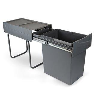 Emuca Poubelle de recyclage de 20L pour la cuisine, fixation inférieure, extraction manuel, acier et plastique, gris anthracite.