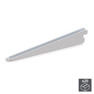 Lot de 20 supports étagère Jagmet Emuca longueur 270 mm pour profil à perforation double et pas de 32 mm