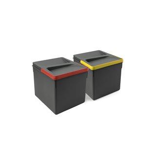 Emuca Poubelles pour tiroir de cuisine, hauteur 216 mm, 2x12L, Gris antracite