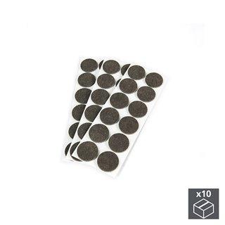 Lot de 10 sachets de 36 patins en feutre adhésifs Emuca circulaires de D. 34 mm
