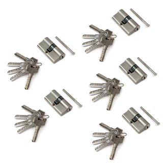 Emuca Cylindre de serrure de sécurité europeen pour porte, 30 x 30 mm, embrayage simple, longue came, 5 clés, aluminium, nickel