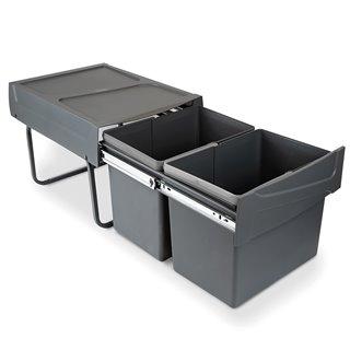 Emuca Poubelles de recyclage pour la cuisine, 2 x 15 L, fixation inférieure, extraction manuel, acier et plastique, gris anthrac