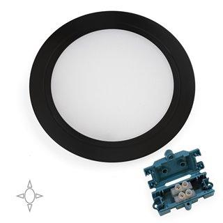 Emuca Applique led pour meuble, diamètre 84 mm, à encastrer, aucun convertisseur nécessaire, lumière blanc natural, acier et pla