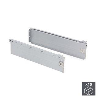 Lot de 10 kits de tiroir Ultrabox Emuca hauteur 150 mm et profondeur 400 mm finition gris métallisé