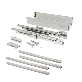 Kit de tiroir extérieur Vantage-Q Emuca hauteur 204 mm et profondeur 350 mm avec tringles finition gris métallisé