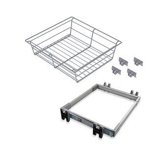 Kit de coulisses et panier métallique Keeper Emuca pour module 900 mm finition anodisé mat