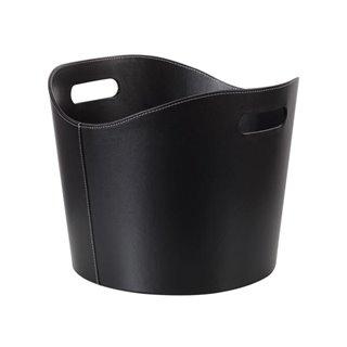 Panier À Bûches - Aspect Cuir Noir - 31 X Ø 39 Cm