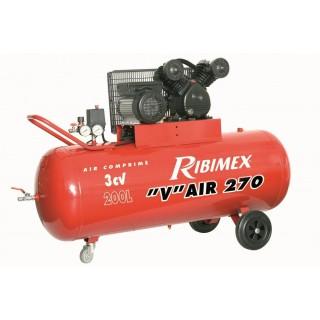 Compresseur électrique tête en V  3CV à huile, cuve 200L