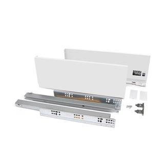 Emuca Kit tiroir Vertex pour cuisine et bain, hauteur 131 mm, prof. 400 mm, 40 Kg, fermeture amortie, Acier, Blanc