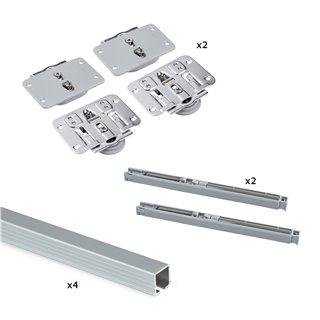 Emuca Système Flow pour 2 portes coulissantes en bois, fermeture amortie, panneaux non incluses, Acier et aluminium, anodisé