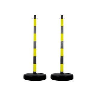 Poteau En Plastique Pour Chaîne De Signalisation - Jaune/Noir - 2 Pcs