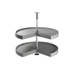 Emuca Jeu de plateaux tournants module de cuisine, 270º, module 800 mm, Plastique et aluminium, Gris
