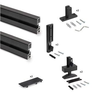 Emuca Kit structure modulaire Zero pour ferrures et profils pour montage en L, 2 Profilés, Peint en noir texturé