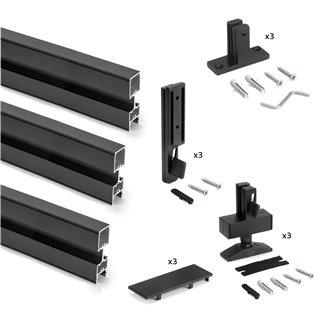 Emuca Kit structure modulaire Zero pour ferrures et profils pour montage en L, 3 Profilés, Peint en noir texturé